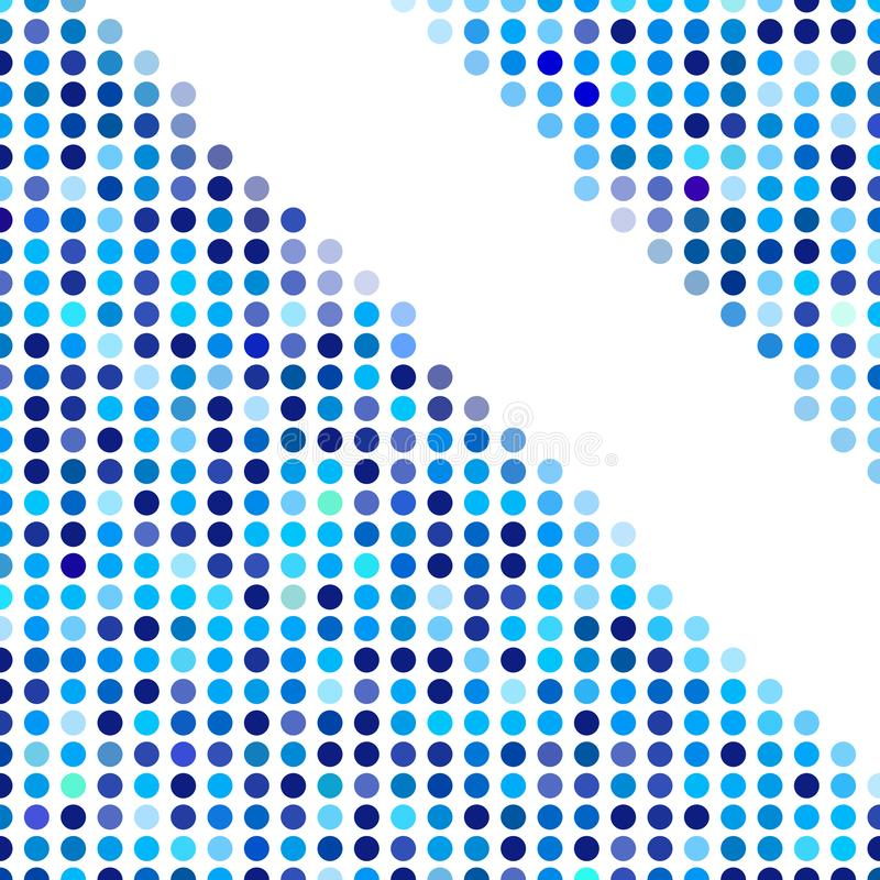 Mosaic background random dark and light blue circles, vector pattern of polka dots, neutral versatile pattern for business. Techno style design. Decoration of stock illustration