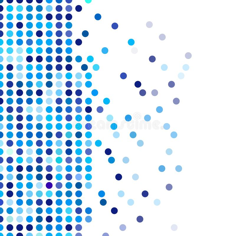 Mosaic background random dark and light blue circles, vector pattern of polka dots, neutral versatile pattern for business techno. Style design. Decoration of stock illustration