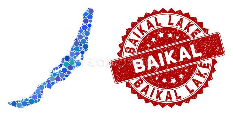 Mosaic Baikal Lake Map och Grunge Circle Watermark stock illustrationer
