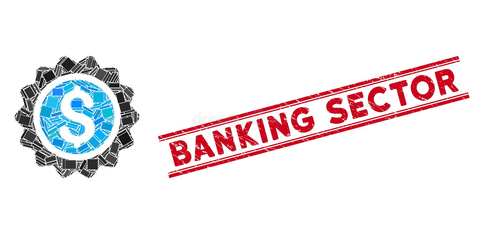 Banking Stamp Mosaic and Distress Banking Sector Watermark with Lines. Mosaic banking stamp icon and red Banking Sector seal stamp between double parallel lines royalty free illustration