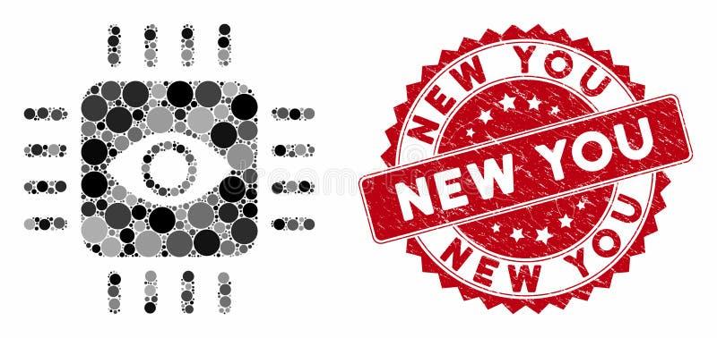 Mosaic Bionic Eye-processor met nood nieuwe jouw stempel stock illustratie