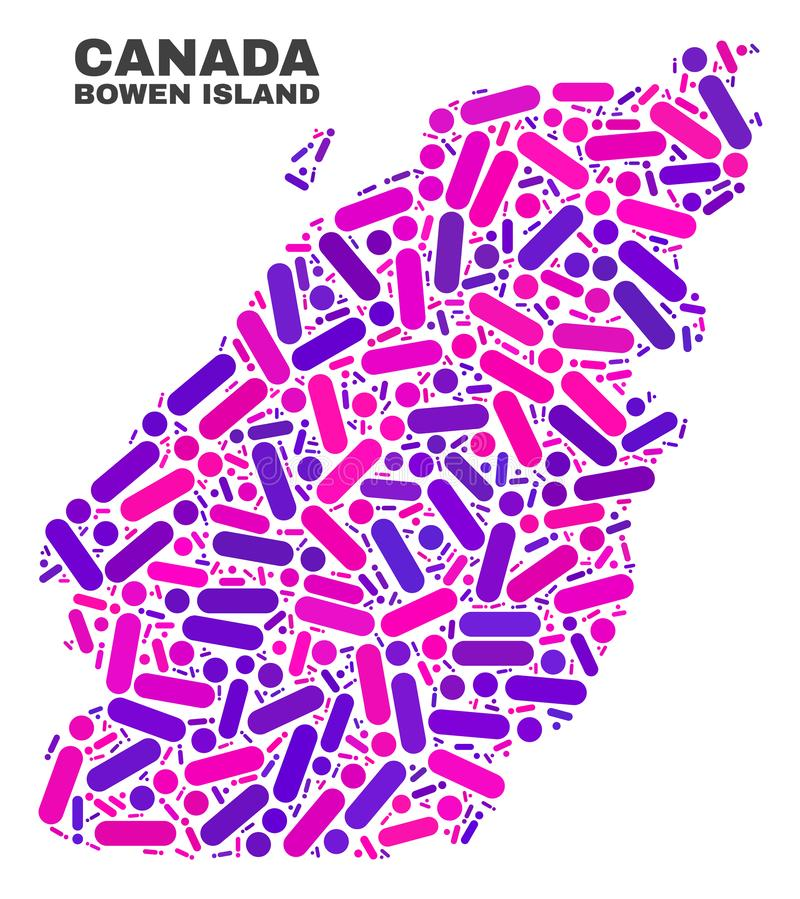 Mosaic Bowen Island Map of Dots and Lines. Mosaic Bowen Island map isolated on a white background. Vector geographic abstraction in pink and violet colors vector illustration