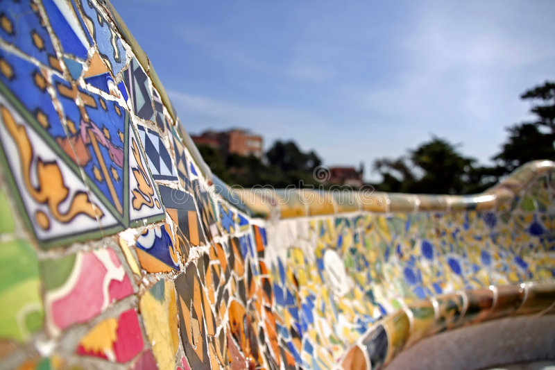Mosaic of broken tiles. Colourful mosaic hand made of old broken tiles royalty free stock photography