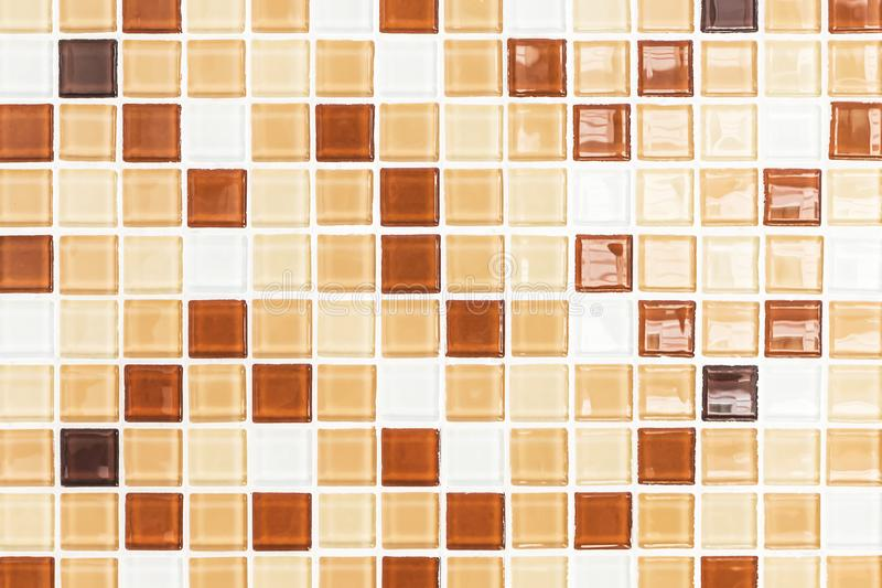 Mosaic brown glass wall background.  stock photo