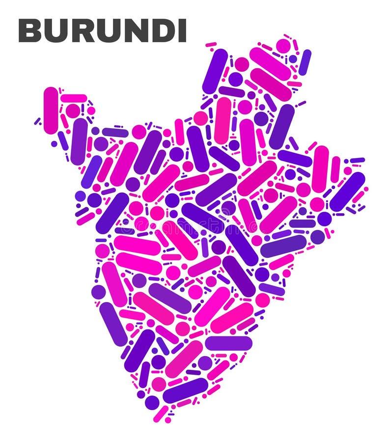 Mosaic Burundi Map of Dots and Lines vector illustration
