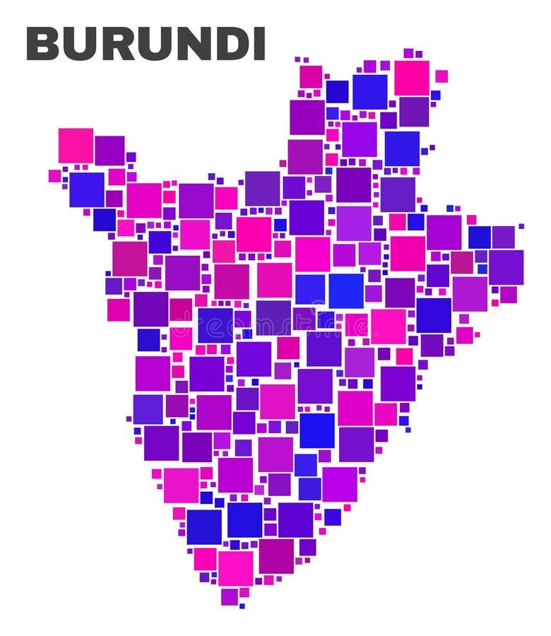 Mosaic Burundi Map of Square Items stock illustration
