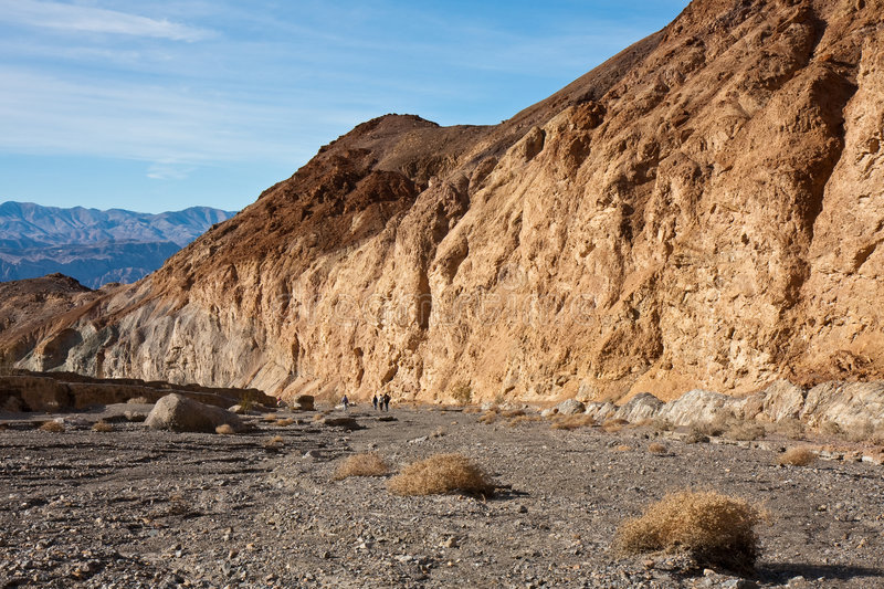 Mosaic Canyon Landscape with Hikers stock photography