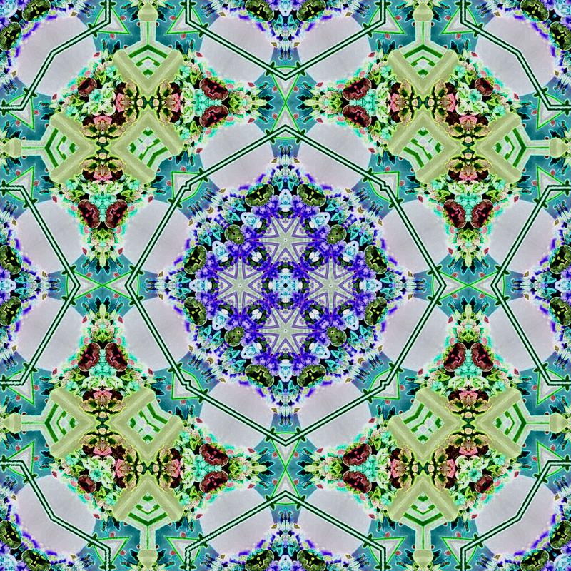 Mosaic carpet kaleidoscopic ornament in teal and green with blue flowers vector illustration