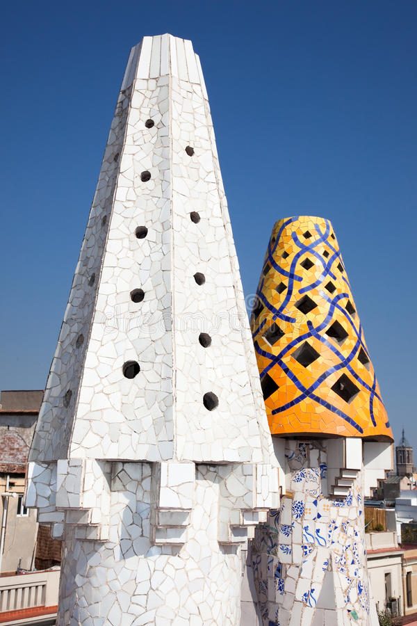 Download The Mosaic Chimneys ,  Barcelona, Spain Stock Image - Image: 25571705