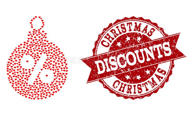 Love Heart Collage of Christmas Discount Ball Icon and Grunge Seal stock illustration
