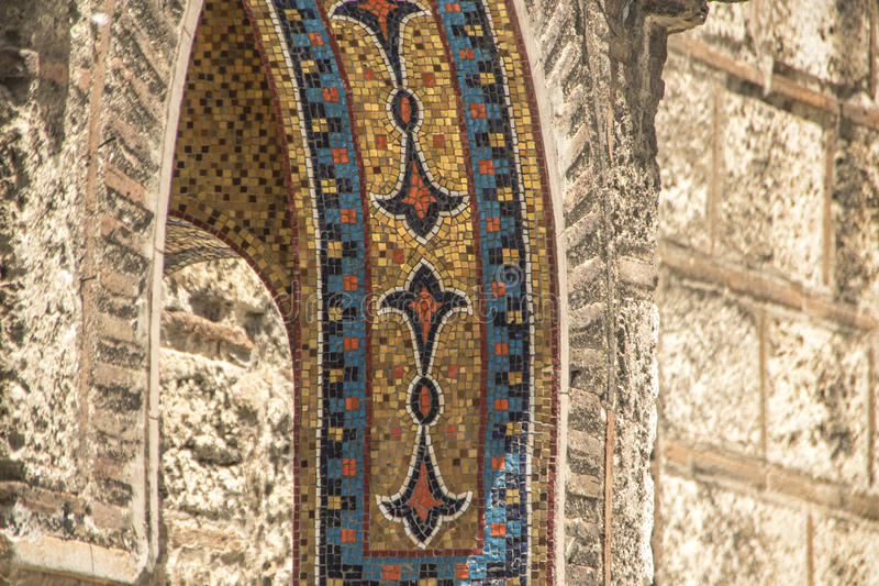 Mosaic on a church entrance in Athens stock photography