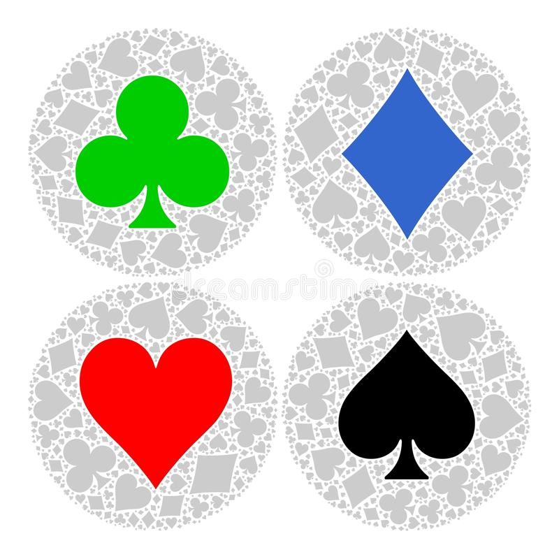 Mosaic circle of poker playing card suit with main symbol in the middle - red heart, blue diamond, black spade and green. Club. Flat vector illustration on royalty free illustration