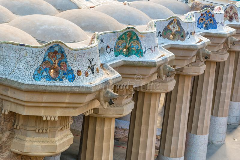Mosaic colonnade at park Guell in Barcelona stock image