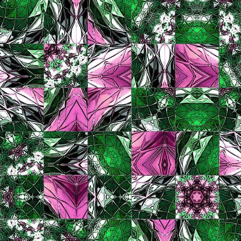 Mosaic color matrix squares floral pattern royalty free illustration