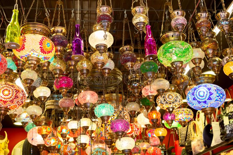 Mosaic colorful Ottoman lamps from Grand Bazaar in Istanbul, Turkey. Lanterns market in Istanbul.  royalty free stock image