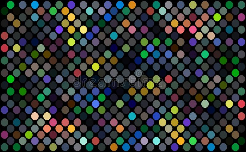 Mosaic colorful polka dots pattern wallpaper trend. Yellow red blue green geometric pattern. Disco night party decor illustration. vector illustration