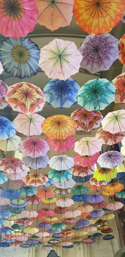 Mosaic of colorful umbrellas royalty free stock images