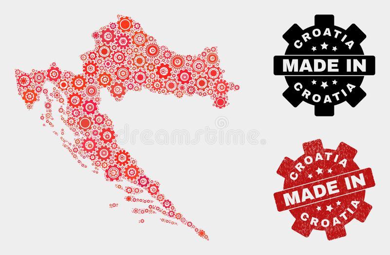 Mosaic Croatia Map of Gearwheel Elements and Grunge Seal royalty free stock photo