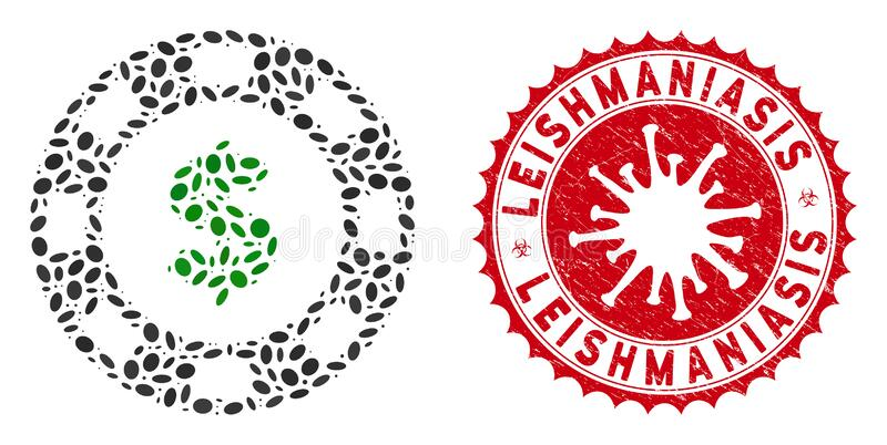Mosaic Dollar Casino Chip Icon with Coronavirus Scratched Leishmaniasis Seal. Mosaic dollar casino chip icon and red rounded distressed stamp seal with vector illustration