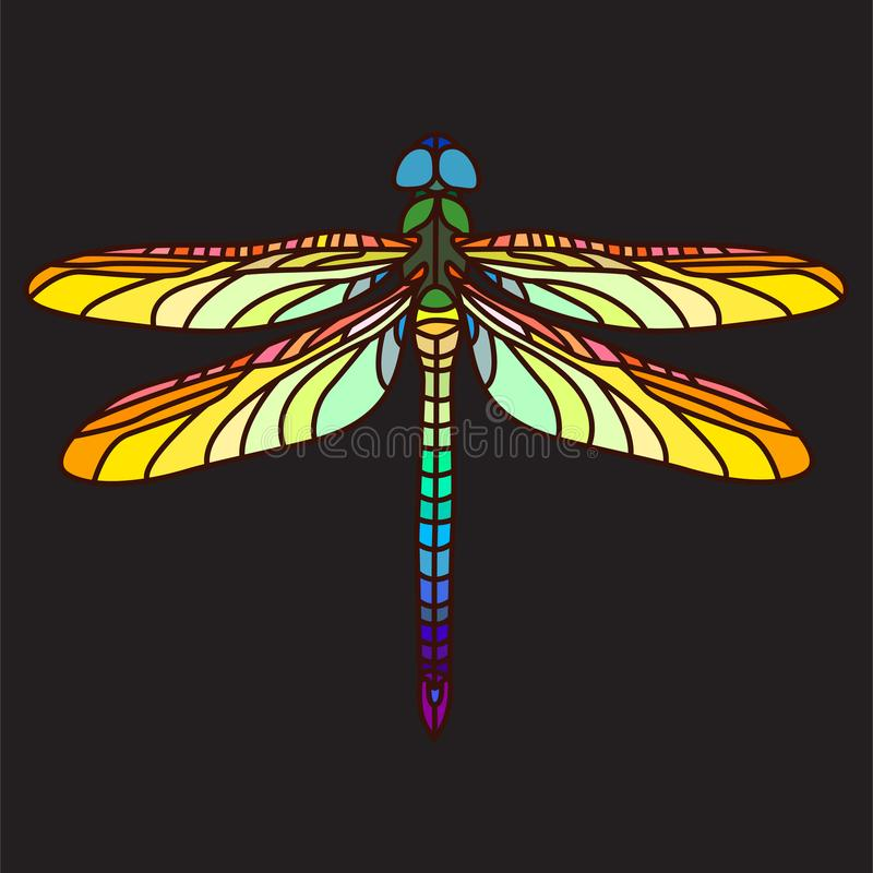 Bright colourful dragonfly vector illustration