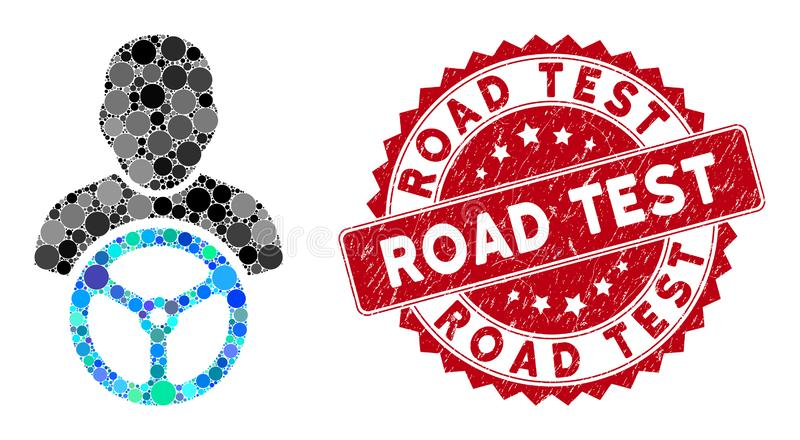 Mosaic Driver with Distress Road Test Stamp royalty free illustration