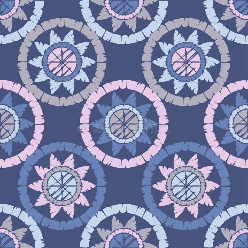 Polka dot seamless pattern. Mosaic of ethnic figures. Sun. Geometric background. vector illustration