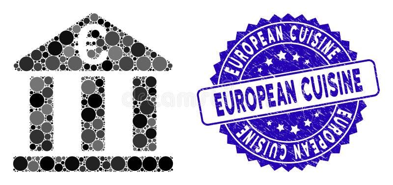 Mosaic Euro Bank Building Icon mit Scratched European Cuisine Seal stock abbildung