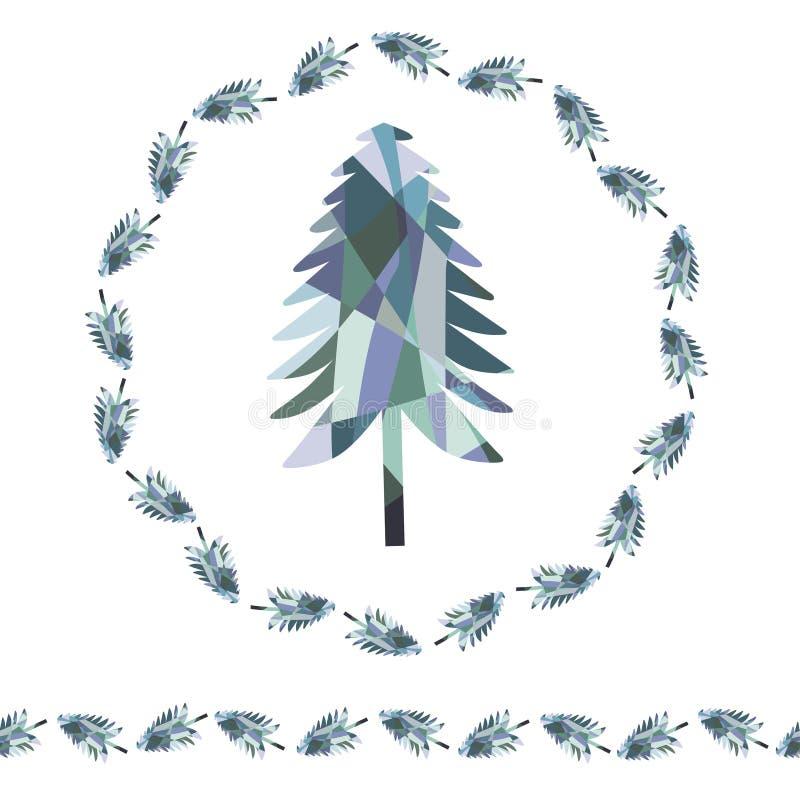 Mosaic fir christmas tree. Wreath and endless border. vector illustration