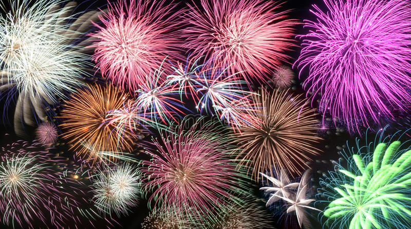 Mosaic of fireworks New Year stock photos