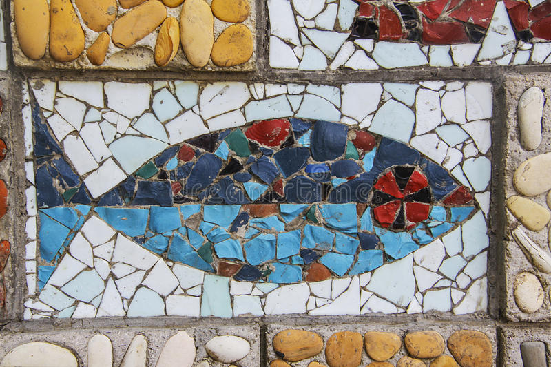 Mosaic fish. Square background filled with colorful mosaic royalty free stock photos
