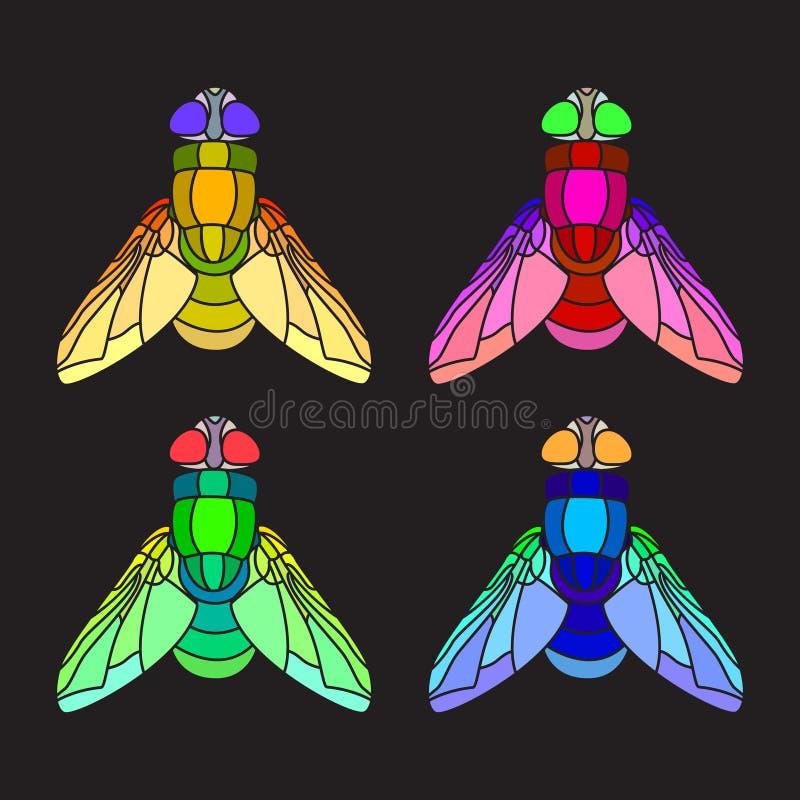 Set of bright flies royalty free illustration