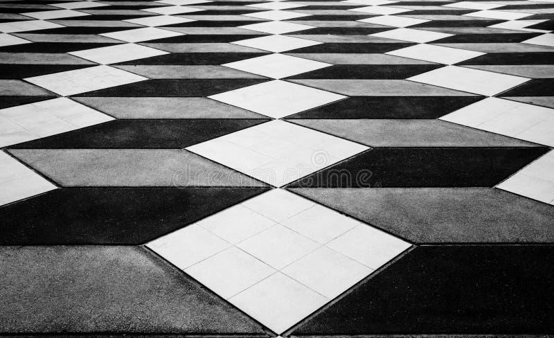 Mosaic floor looks like three dimensional. but is flat ,Wonder of floor. 3D background royalty free stock photo