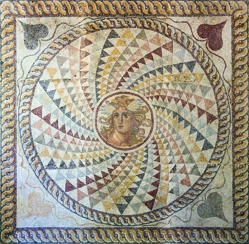 Mosaic floor with Medusa's head found in Zea, Piraeus, 2nd century AD. royalty free stock image
