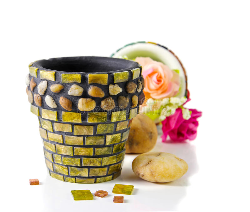 Mosaic flower pot. I made myself royalty free stock photo