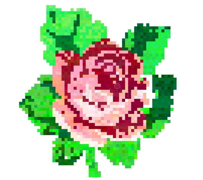 Mosaic flower rose. Vector print. stock illustration