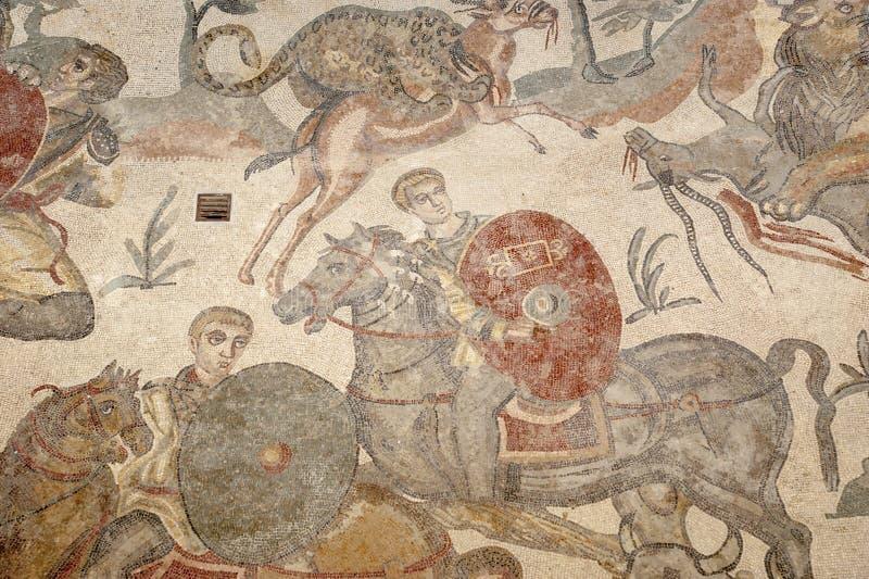 Mosaic fragment Roman Villa Romana del Casale, Sicily stock images