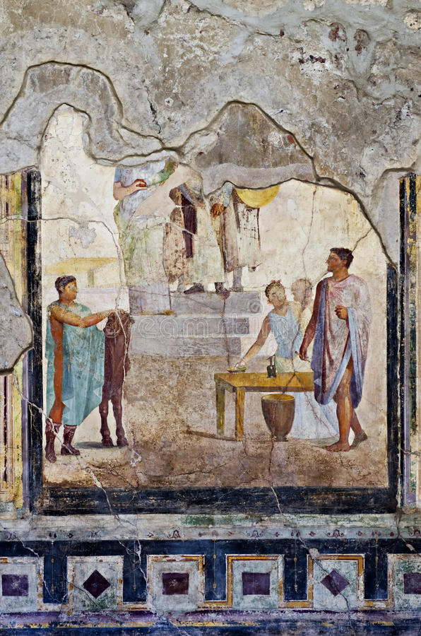 Mosaic and Fresco house in Pompeii stock images