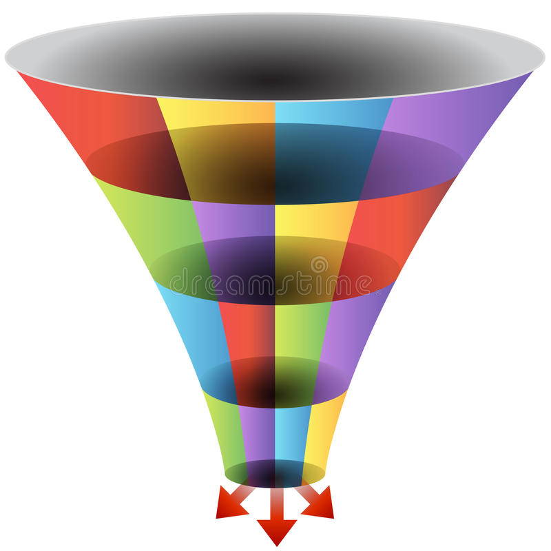 Mosaic Funnel Chart Set. An image of a mosaic 3d funnel chart vector illustration