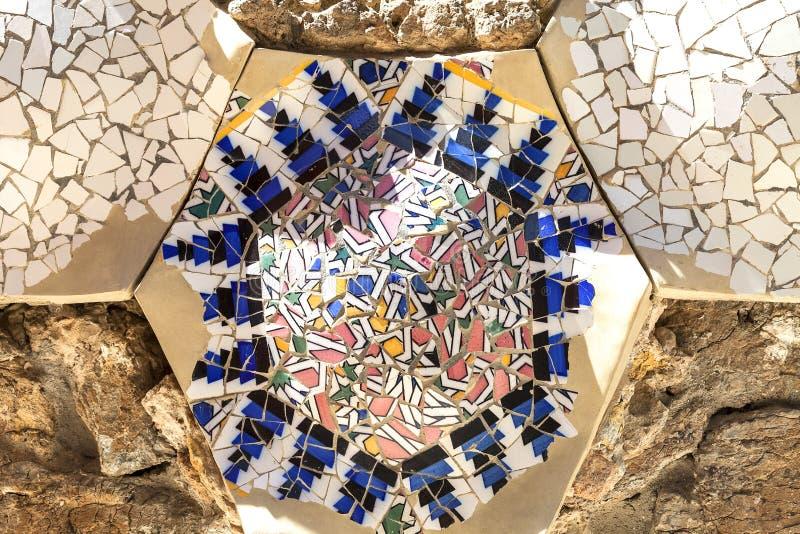 gaudi gebaude in barcelona mosaic in the garden of gaudi house museum barcelona
