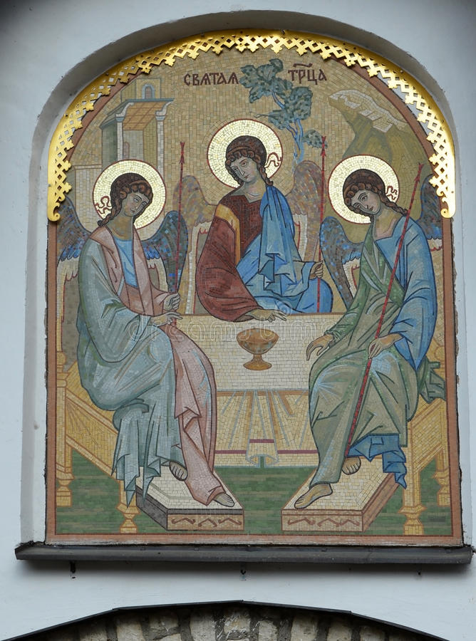 Mosaic gate icon Old Testament Trinity designed by E. Klimov and made in 1942 in Germany stock photos