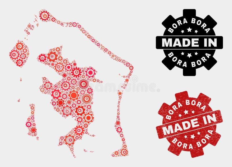 Mosaic Bora-Bora Map of Cogwheel Items and Grunge Stamp royalty free stock images
