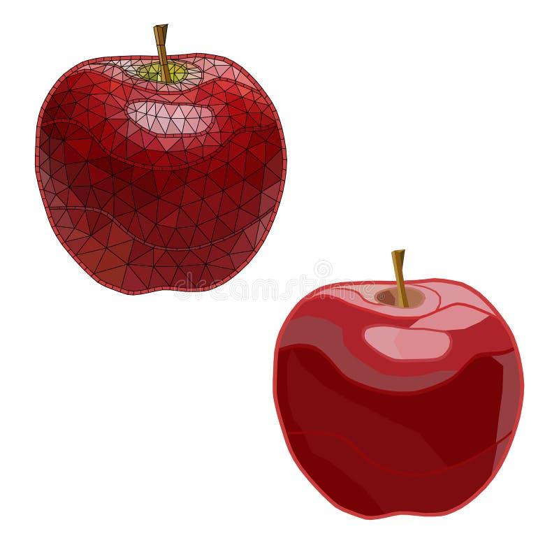 Mosaic, geometric apples. isolated. easy to modify. stock photos