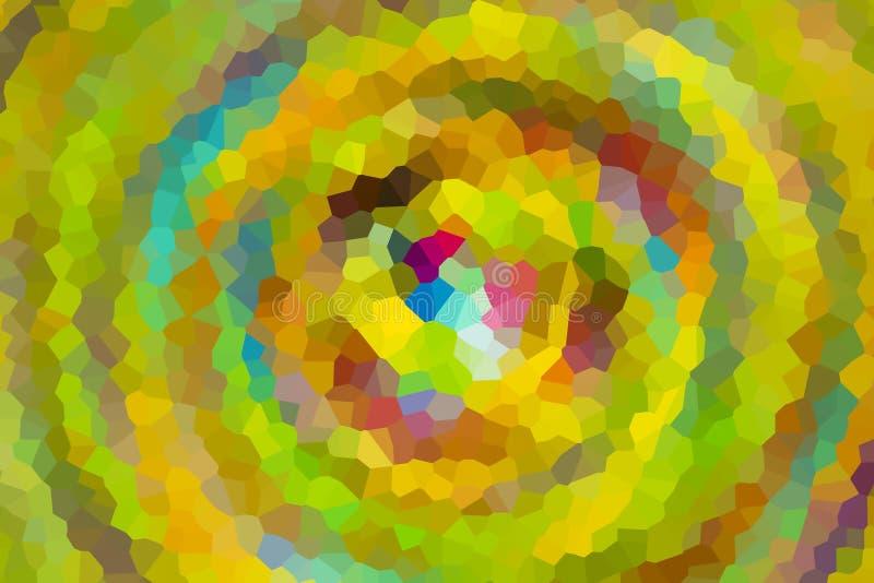Mosaic geometric pattern gradient green khaki yellow motion whirlpool depth paint art design royalty free illustration