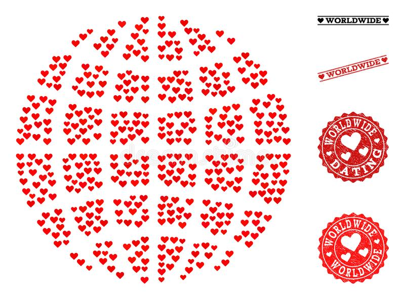 Heart Collage Globe and Grunge Stamps for Valentines. Mosaic globe designed with red love hearts, and grunge stamp seals for Valentines day. Vector lovely royalty free illustration