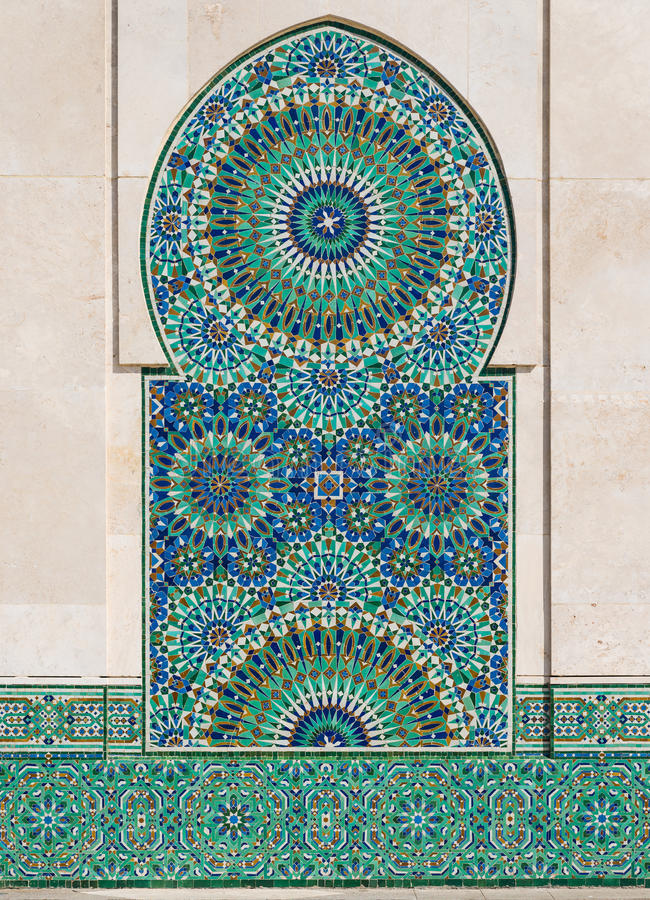 The mosaic in Grand Mosque of Hassan II with blue sky royalty free stock image