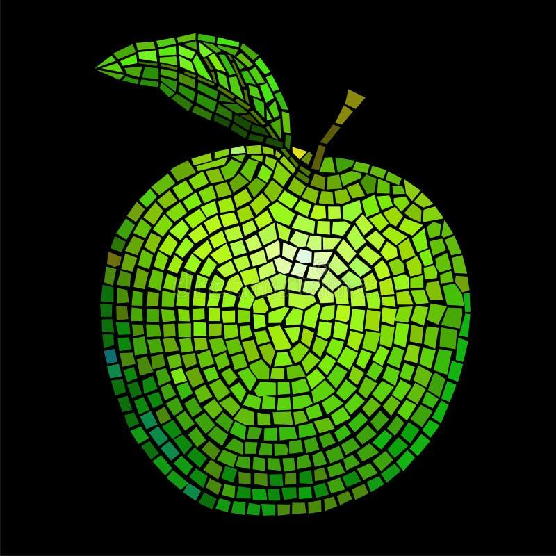 Mosaic green apple royalty free illustration