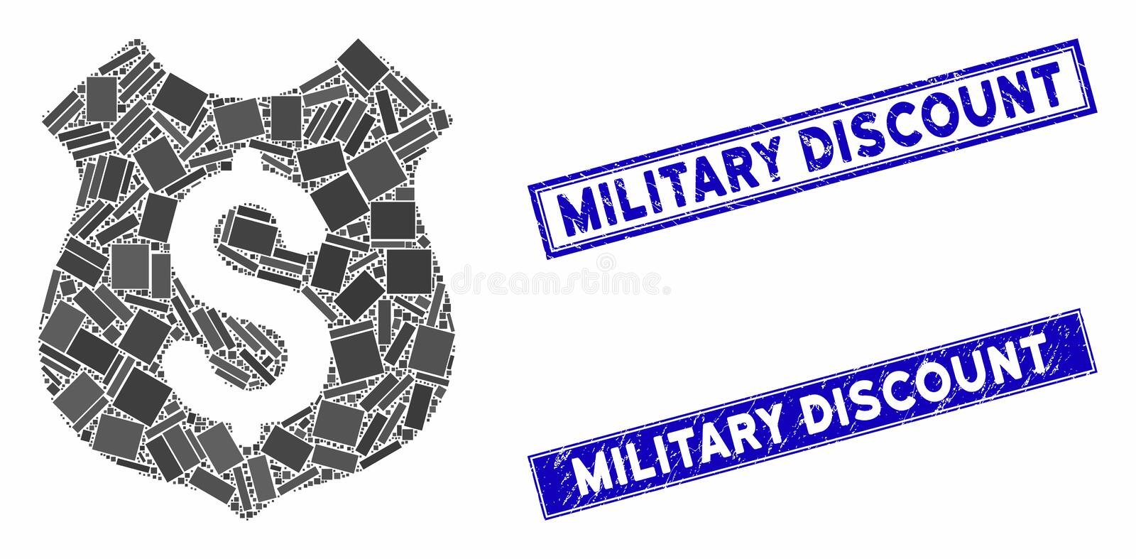 Guard Price Mosaic and Distress Rectangle Military Discount Seals vector illustration