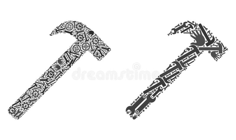 Mosaic Hammer Tool Icons of Repair Tools royalty free illustration