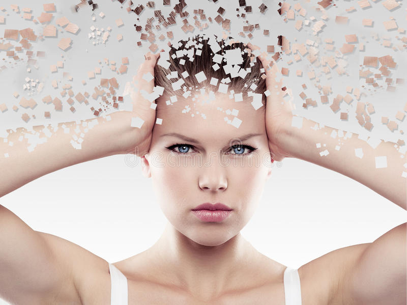 Mosaic head. Health and skin care. Close-up portrait of beautiful female touching her head in trouble stock images