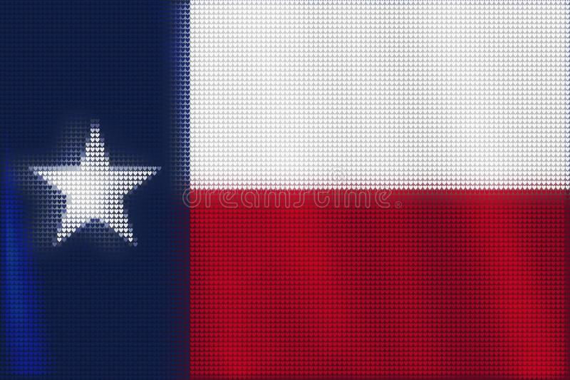 Mosaic heart tiles painting of Texas flag. Blown in the wind, love state patriotic concept vector illustration